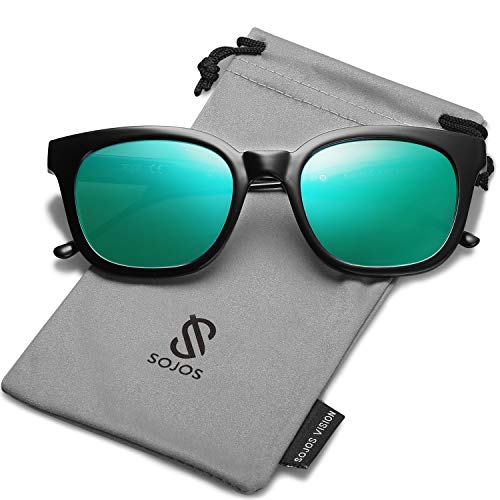 SOJOS Classic Polarized Sunglasses for Women Men Mirrored Lens SJ2050 with Black Frame/Green Mirrored Polarized Lens ()
