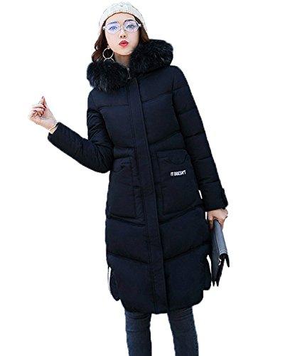 Nero Parkas Plus Coat Linea Size Faux Donna Hood Comvip Una Quilted Spessa Fur 1ZvWq75Ba5