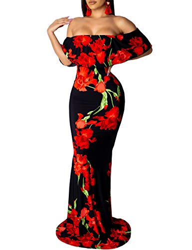 FairBeauty Women's Off Shoulder Dress Hawaiian Floral Print Sexy Bodycon Cocktail Party Long Maxi Dress Black Red