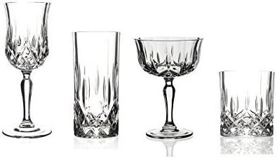 16 pcs Verres Cristal italien Ensemble composé : 4 x Verres à vin, 4 x Champagne Cocktail soucoupes, 4 x Highball Mitigeur et 4 verres gobelets X