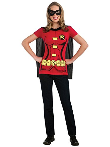 DC Comics Women's Robin T-Shirt with Cape and Eye Mask, Red, -