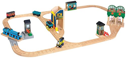 Fisher Price Thomas & Friends Wooden Railway Logan and the Big Blue Engines Set (Thomas Wooden Railway Diesel)
