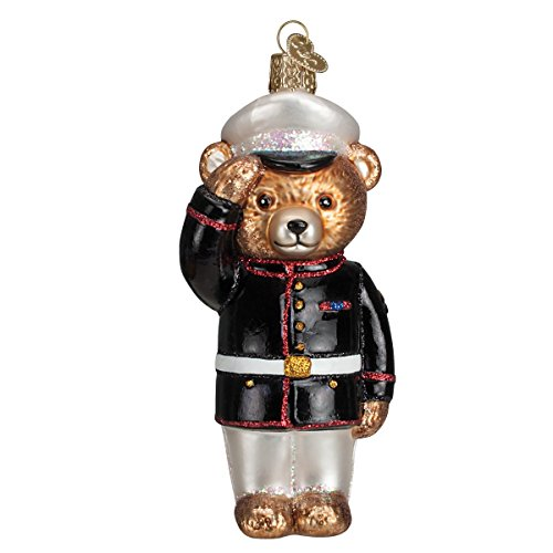 Old World Christmas Ornaments: Marine Bear Glass Blown Ornaments for Christmas - Christmas Ornament Family Old World