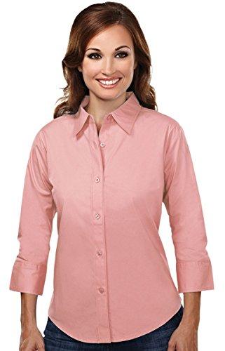 Tri-mountain Womens cotton stretch poplin 3/4 sleeve shirt. 731 - MELON_4XL - Poplin 3/4 Sleeve Shirt