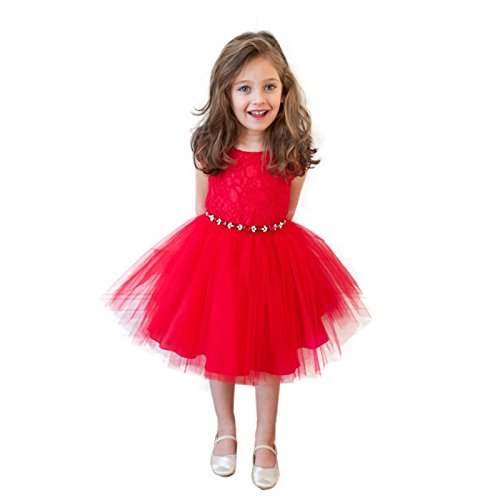 Excellent International Trading Co., Ltd. EITC Little Girls' Summer Flower Party Wedding Tutu Dress 4T Red