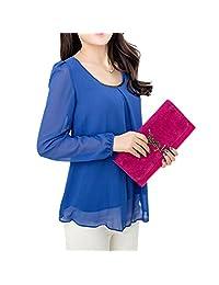QIYUN.Z Women Loose Chiffon Blouse Shirt Long Bubble Sleeves Falbala Hem Chemise