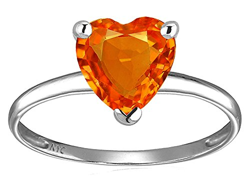 Star K Simulated Orange Mexican Fire Opal Heart Shape 8mm Solitaire Engagement Ring 14k White Gold Size 9