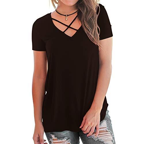 Eanklosco Womens Summer Short Sleeve Cold Shoulder Tops V Neck Basic T Shirts (Coffe-Cross, XL)