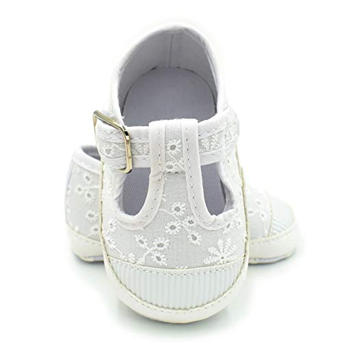BubbleColor Baby Canvas Shoes Newborn Toddler Girls Boys Anti-Slip Soft Sole White Shoes Infant Prewalker First Walking Tennis Crib Shoes Sneakers (L:12-18 Months/5.12
