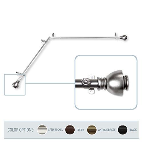 A&F Rod Decor - Stream Corner Window Curtain Rod 48-84 inch (each side) - Satin Nickel -