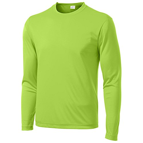 (Clothe Co. Mens Long Sleeve Moisture Wicking Athletic Sport Training T-Shirt, S, LIME SHOCK )