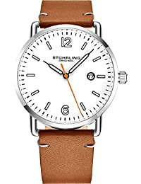 Brown Leather Watch Band White Dial Vintage Style 38mm...
