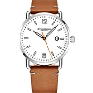 [Sponsored]Stuhrling Original Brown Leather Watch Band White Dial Vintage Style 38mm Case with...