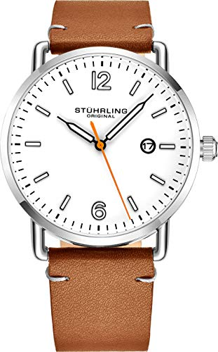 Stuhrling Original Brown Leather Watch Band White Dial Vintage Style 38mm Case with Date - 3901 Mens Watches Collection ()