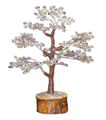 uartz Natural Stone Feng Shui Bonsai Money Tree for Chakra Balancing Good Luck EMF Protection Healing Table Décor Health Prosperity Size 10-12 inch (Silver Wire) ()