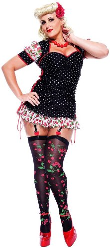 Paper Magic Womens French Kiss Pin-up Girl Plus Size Costume, Black/Red, X-Large