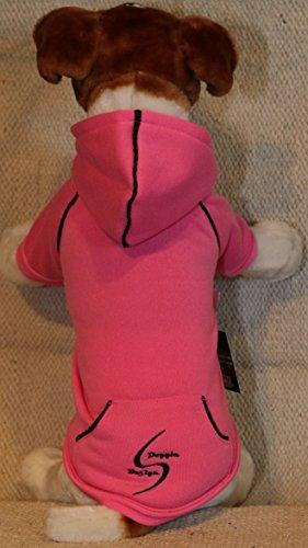 Fleece Lined Dog PET Hoodie Heavyweight Embroidered Sweatshirt Raspberry Sorbet (Large)