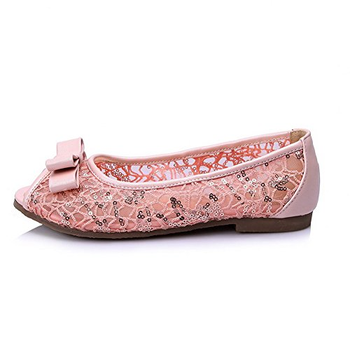 VogueZone009 Women's Peep Toe No Heel Soft Material Solid Pull On Flats-Sandals Pink NTYu5ZYWaZ