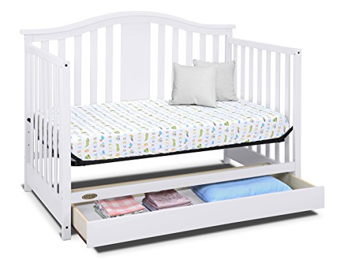 41UmFYcV2sL - Graco Solano 4-in-1 Convertible Crib With Drawer, White, Easily Converts To Toddler Bed Day Bed Or Full Bed, Three Position Adjustable Height Mattress, Some Assembly Required (Mattress Not Included)