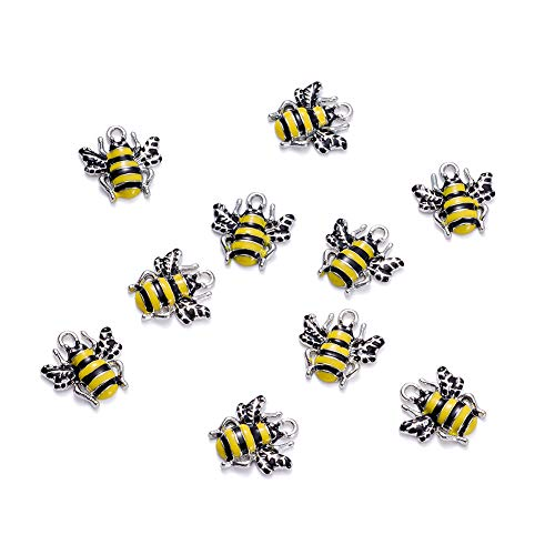 Craftdady 10Pcs Alloy Enamel Bee Charms 18x17mm DIY Jewelry Necklace Earring Bracelet Craft Making Animal Pendants with 2mm - Bee Charm Enamel