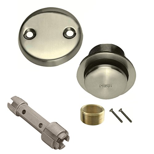 Brushed Nickel Toe Touch Conversion Kit Tub Drain Overflow and Removal Tool (Tub Drain Trim Kit Chrome compare prices)