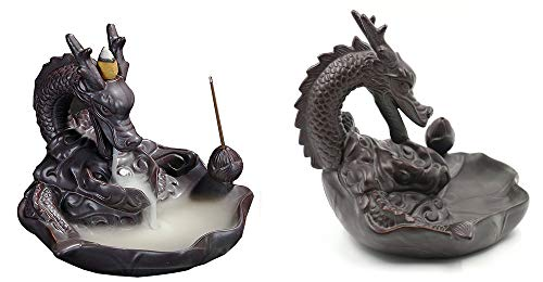 Gift Prod Incense Smoke Flow Backflow Holder Dragon Incense Holder Dragon Backflow Ceramic Backflow Incense Tower Burner Statue Figurine Incenses Not Included (Style 1) (Smoking Dragon Statue)