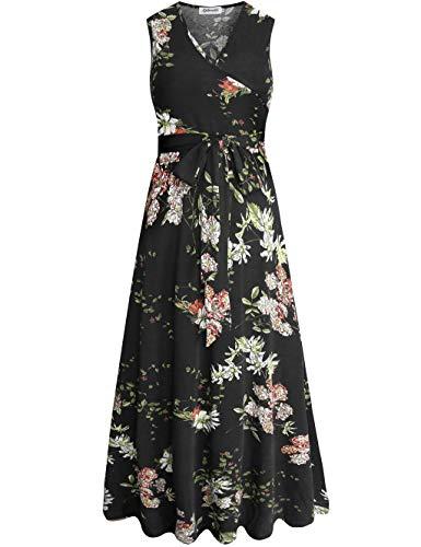 Aphratti Women's Sleeveless Faux Wrap V Neck Floral Vintage Long Maxi Dress Black14903 -