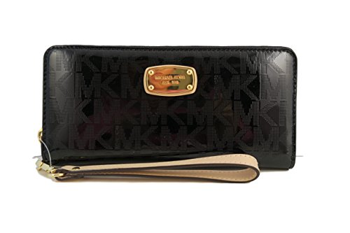 michael-kors-black-jet-set-travel-continental-black-mirror-zip-around-wallet-wristlet