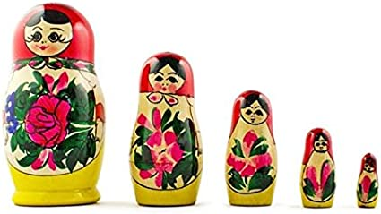russian nesting doll Set Of 5 Hand made 5 inchs tall wood color US Seller