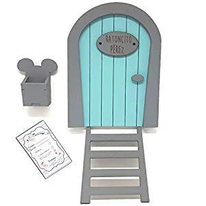Puerta Ratoncito Pérez azul de madera,con escalera,buzón y certificado. Producto artesanal hecho en España 14