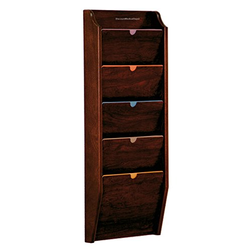 DMD HIPAA Compliant File Holder, Wall Mounted Patient Chart Rack, 5 Pocket, Privacy, Legal Size, Mahogany