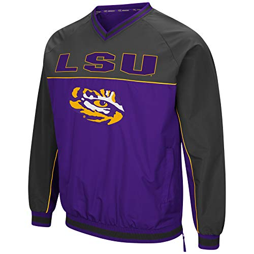 Colosseum Men's NCAA Athletic V-Neck Windbreaker Pullover with Tackle Twill Embroidery-LSU Tigers-Purple/Charcoal-Large (Athletic Pullover V-neck)