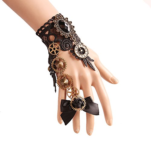 Women's Gothic Lolita Retro Steampunk Watch Gear Lace Slave Bracelet Wristband Black Flower Ring For Girls Give Yourself the Most Beautiful Gift (Black Style 1)