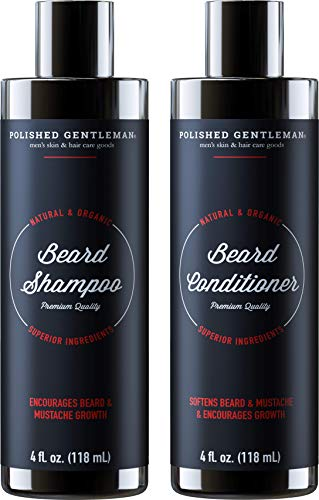 Beard Growth Shampoo and Conditioner Set - Best Face Soap With Biotin & Tea Tree - Best Beard Wash With Beard Oil - Facial Hair Growth Kit For Men - Rapid Hair And Beard Growth - Made In USA