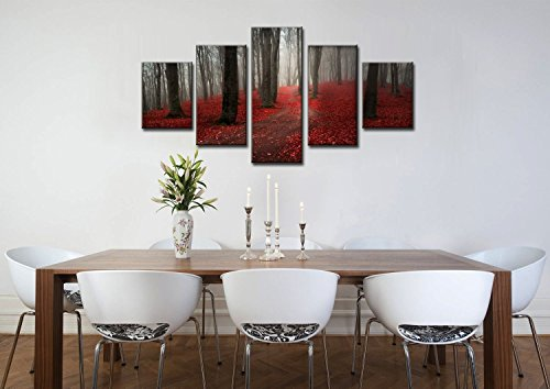 Extra Large Modern Landscape Autumn Season,Black White Red Forest Framed Painting 5 Piece, Painting on Canvas Wall Art Posters and Prints Pictures for Living Room Stretched Ready to Hang(60''Wx32''H) -