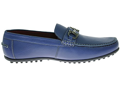 Natazzi Heren Leren Schoen Kenzo Slip-on Rijdende Mocassin Loafer Blauw