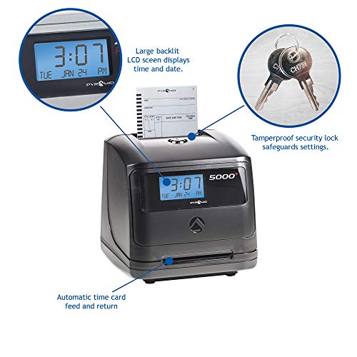 Pyramid 5000 Auto Totaling Time Clock, 100 Employees - Made in USA by Pyramid Time Systems (Image #3)