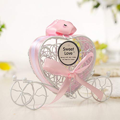 Dirance Romantic Pumpkin car Wedding Wrought Iron Candy Box Sweet Love Wedding Decoration Wholesale Sale Below $5 (5, Pink)