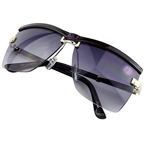 Sumery Unisex Semi-Rimless Frame Sunglasses Luxury Design Outdoor Sunglasses Lovers Gift (Purple, - Images Spectacles Rimless Of