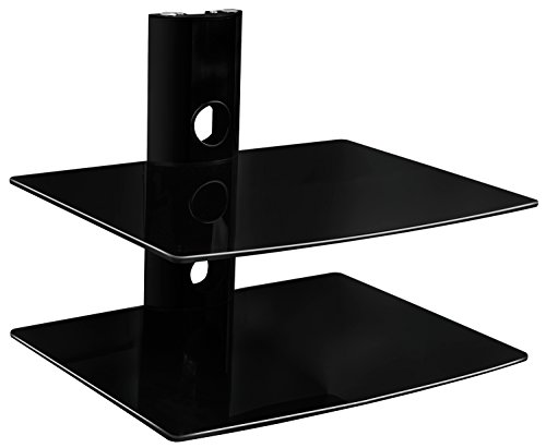 Two Glass Shelves - Mount-It! MI-802 Floating Wall Mounted Shelf Bracket Stand for AV Receiver, Component, Cable Box, Playstation4, Xbox1, VCR Player, Blue Ray DVD Player, Projector, Load Capacity 44 lbs, Two Shelves, Tinted Tempered Glass