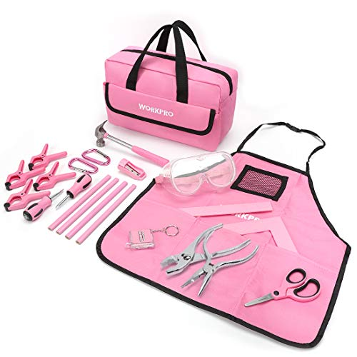 WORKPRO Children's Real Tool Kit with Storage Bag 23-piece Pink
