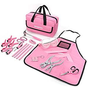 Amazon.com: WORKPRO 23-piece Girls Tool Kit with Real Hand Tools, Safety Goggles, Storage Bag