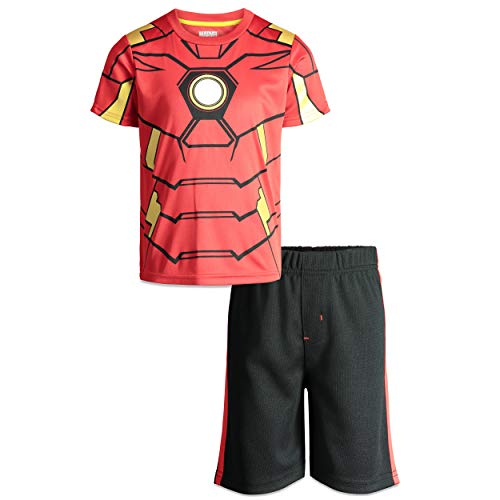 Marvel Avengers Iron Man Boys' T-Shirt & Shorts Clothing Set, Toddler (Red, 3T)