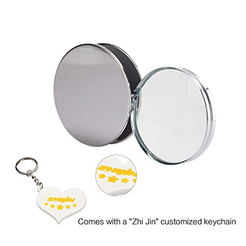 Zhi Jin 1Pc Portable Folding Magnifier Pocket Loupe Metal Reading Magnifying Glass Lens 10X 60mm for Inspection Science Office Travel Map