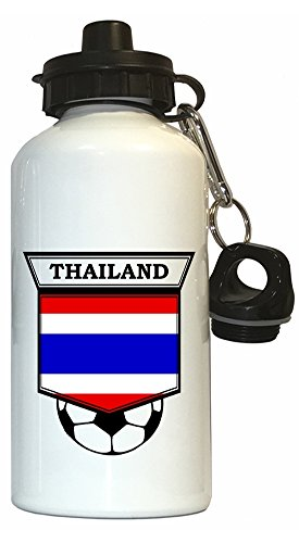 Thai Soccer Water Bottle White - Thailand by Custom Image Factory