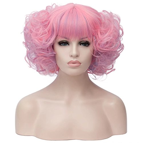 Kadiya Pink Cosplay Wig Short Curly Wave Hair Lolita Comic Con Costume -