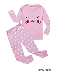 Family Feeling Little and Big Girls 2 Piece 100% Cotton Pajamas Sets Kids Pjs