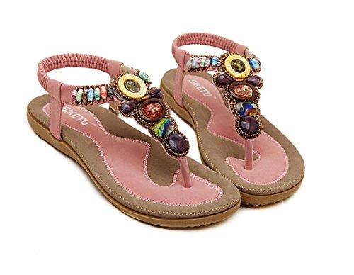 ... Bumud Kvinners Beaded Thong T-stropp Flats Sandaler Sommer Sko Rosa
