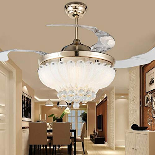 Crystal Ceiling Fan with Lights and Remote, Retractable Blades Ceiling Fan 3 Colors 3 Speeds Dimmable with Silent Motor Modern Chandelier Fan, Crystal Ceiling Fandelier for Bedroom Living Room 42 Inch