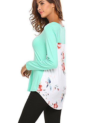 Halife Woman's Criss Cross Front Floral Print Boutique Long Sleeves Top Green M